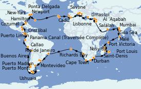 Itinéraire de la croisière Tour du Monde 2023 117 jours à bord du Costa Deliziosa
