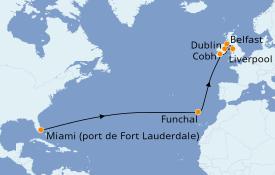 Itinéraire de la croisière Transatlantiques et Grands Voyages 2020 15 jours à bord du Celebrity Reflection
