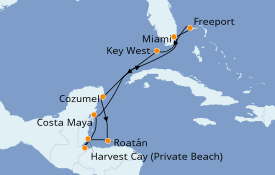 Itinéraire de la croisière Caraïbes de l'Ouest 11 jours à bord du Seven Seas Splendor