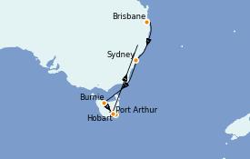 Itinéraire de la croisière Australie 2022 11 jours à bord du Coral Princess