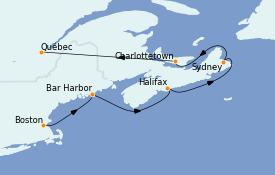 Itinéraire de la croisière Canada 7 jours à bord du ms Nieuw Statendam