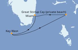Itinéraire de la croisière Bahamas 4 jours à bord du Norwegian Pearl