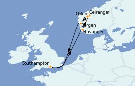 Itinerario de crucero Fiordos y Noruega 8 días a bordo del Anthem of the Seas