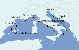 Itinéraire de la croisière Méditerranée 11 jours à bord du MS Marina
