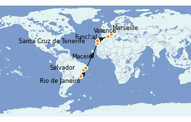 Itinéraire de la croisière Transatlantiques et Grands Voyages 2022 16 jours à bord du MSC Seaside