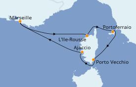 Itinéraire de la croisière Méditerranée 6 jours à bord du Jules Verne