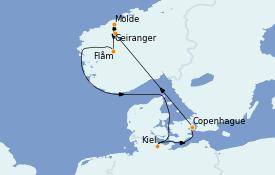 Itinerario de crucero Fiordos y Noruega 8 días a bordo del MSC Grandiosa
