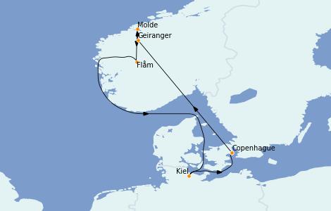 Itinéraire de la croisière Fjords & Norvège 7 jours à bord du MSC Grandiosa