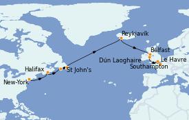 Itinéraire de la croisière Canada 15 jours à bord du Norwegian Dawn