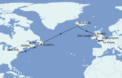 Itinéraire de la croisière Canada 14 jours à bord du Norwegian Dawn