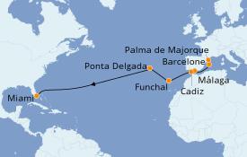 Itinéraire de la croisière Transatlantiques et Grands Voyages 2019 15 jours à bord du Norwegian Star