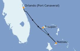 Itinéraire de la croisière Bahamas 5 jours à bord du Carnival Elation