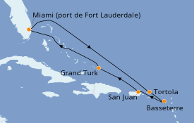 Itinéraire de la croisière Caraïbes de l'Est 9 jours à bord du Discovery Princess