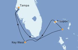 Itinéraire de la croisière Bahamas 6 jours à bord du Norwegian Jade