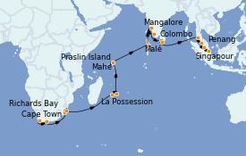 Itinéraire de la croisière Afrique 31 jours à bord du MS Nautica