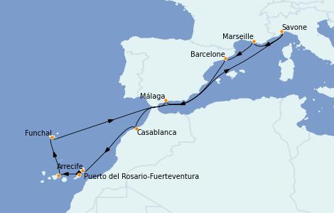 Itinéraire de la croisière Méditerranée 14 jours à bord du Costa Pacifica
