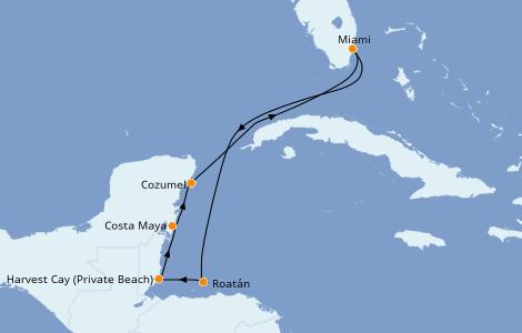 Itinéraire de la croisière Caraïbes de l'Ouest 7 jours à bord du Norwegian Joy