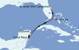 Itinéraire de la croisière Bahamas 8 jours à bord du MSC Divina