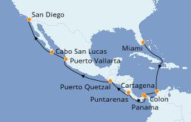 Itinéraire de la croisière Riviera Mexicaine 16 jours à bord du Celebrity Infinity
