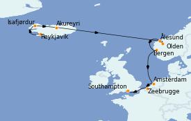 Itinéraire de la croisière Fjords & Norvège 11 jours à bord du Norwegian Prima