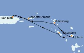 Itinéraire de la croisière Caraïbes de l'Est 6 jours à bord du Celebrity Millennium