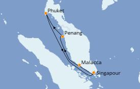 Itinéraire de la croisière Asie 6 jours à bord du Quantum of the Seas