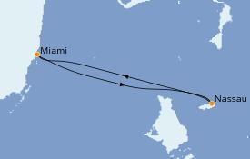 Itinéraire de la croisière Bahamas 4 jours à bord du Carnival Conquest