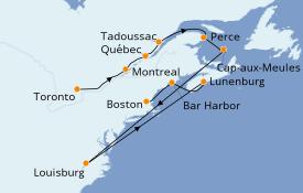 Itinéraire de la croisière Alaska 11 jours à bord du Le Champlain
