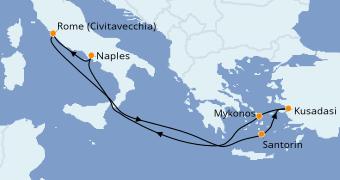 Itinéraire de la croisière Méditerranée 8 jours à bord du Odyssey of the Seas