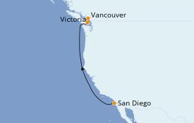 Itinéraire de la croisière Alaska 5 jours à bord du ms Eurodam