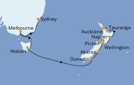 Itinéraire de la croisière Australie 2021 15 jours à bord du ms Oosterdam