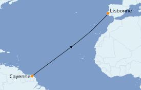 Itinéraire de la croisière Méditerranée 12 jours à bord du Le Dumont d'Urville