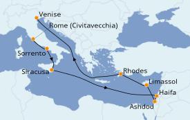 Itinéraire de la croisière Méditerranée 13 jours à bord du Seven Seas Mariner