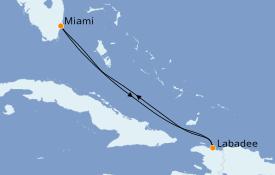 Itinéraire de la croisière  5 jours à bord du Oasis of the Seas