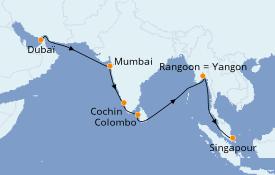 Itinéraire de la croisière Asie 20 jours à bord du Azamara Pursuit