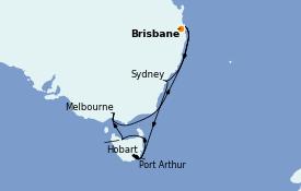 Itinerario de crucero Australia 2022 12 días a bordo del Coral Princess