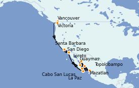Itinéraire de la croisière Riviera Mexicaine 17 jours à bord du ms Oosterdam
