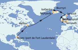 Itinéraire de la croisière Îles Britanniques 19 jours à bord du Island Princess