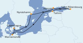 Itinéraire de la croisière Mer Baltique 10 jours à bord du Norwegian Escape