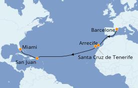 Itinéraire de la croisière Méditerranée 15 jours à bord du Seven Seas Splendor