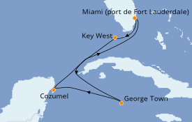 Itinéraire de la croisière Caraïbes de l'Ouest 7 jours à bord du Celebrity Reflection