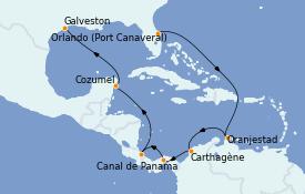 Itinéraire de la croisière Caraïbes de l'Est 13 jours à bord du Carnival Radiance