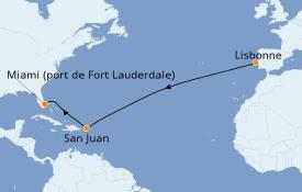 Itinéraire de la croisière Caraïbes de l'Est 14 jours à bord du Silver Dawn