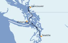 Itinéraire de la croisière Alaska 4 jours à bord du ms Volendam
