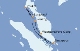 Itinéraire de la croisière Asie 7 jours à bord du Costa Fortuna