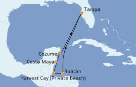 Itinerario de crucero Caribe del Oeste 8 días a bordo del Norwegian Dawn