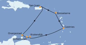 Itinéraire de la croisière Caraïbes de l'Est 8 jours à bord du Norwegian Epic