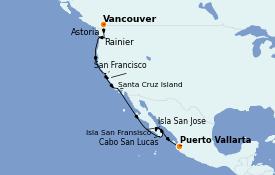 Itinéraire de la croisière Riviera Mexicaine 17 jours à bord du Silver Wind