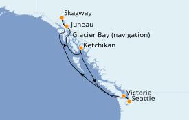 Itinéraire de la croisière Alaska 8 jours à bord du Norwegian Sun