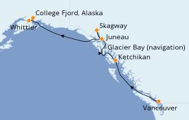 Itinéraire de la croisière Alaska 8 jours à bord du Star Princess